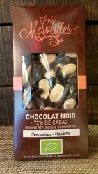 Chocolat Noir 72%  Amandes et Raisins (origine République Dominicaine)